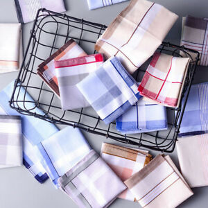 5Pcs 38*38cm Square Plaid Stripe Handkerchiefs Hanky Pocket Cotton Towel Random