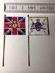 675) 2x 25mm 25/28mm Hanoverian Napoleonic Flags Waterloo 1815 Infantry Regiment