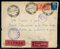 1941 Rome Italy Express Mail censored cover to red cross Switzerland