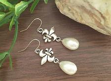Vintage Fleur De Lis With White Pearl Teardrop, Dangle Earrings