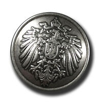 5 altsilberfarbene Ösen Metall Knöpfe mit Reichsadler (f083s-23mm)