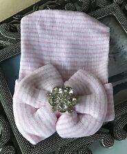Pink bow jeweled hospital hat, shower gift, newborn, handmade