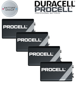 DURACELL Procell 9V Batteries Block PP3 Alkaline MN1604 INDUSTRIAL Use 4 Pack