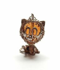 Vintage 925 Sterling Silver XL ORANGE GEM SET MOVING LION Charm Pendant 7.1g