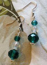 Pretty Emerald Green Crystal Rondelle Beads Dangle Pierced Earrings Wedding