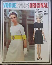 VTG 1968 VOGUE PARIS ORIGINAL LANVIN MISSES' DRESS ORIGINAL PATTERN 1910 SZ 14