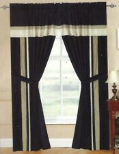 Black Taupe Window Curtain Panels AT LINEN PLUS