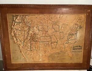 """Antique Central School Supply House Relief Map of United States 48 x 34 """" 1895"""