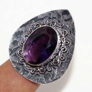 Amethyst Ethnic Handmade Gemstone Ring Jewelry US Size-8 JW