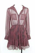 UO Dress Coincidence & Chance Boho Houndstooth Sheer Chiffon Pleated S