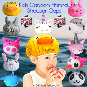 Kids Waterproof Cartoon Animal Shower Cap - Fits Most Heads, 1st Class Post