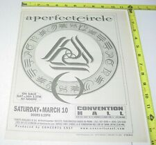 A Perfect Circle Concert Ad Advert 2001 Tour Tool Convention Hall Asbury Park Nj
