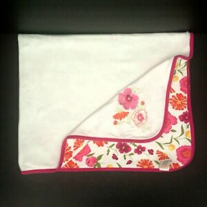 Gymboree 2005 Floral Flower Baby Blanket White Pink Security Lovey 70530 FLAW