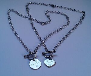 Personalised Silver T-Bar Necklace with Engraved Heart or Round Charm Boxed