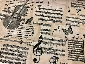MUSICAL NOTES Cotton Fabric Curtains Music Black Music Note Violin -140cm wide