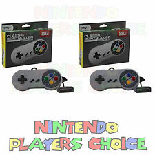 Two FAMICOM STYLE Retro Duo SUPER SNES NINTENDO CONTROLLERS - Control Pads New