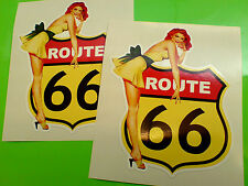 ROUTE 66 & MODEL Retro Car Bumper Motorhome Stickers Decals 2 off 100mm