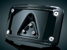 Kuryakyn Curved Laydown License Plate Mount with Frame  Gloss Black