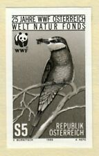 Austria Black Print Imperf Proof WWF Wildlife Preservation Birds Prey Bee Eater