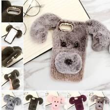 Cute Dog Bling Diamond Fur Fluffy Warm TPU Case Case for Huawei P Smart Honor 9i