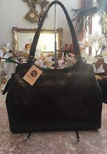 NWT Monsac Large Brown Leather Satchel Shoulder Handbag Purse MSRP $298