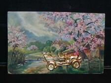 RARE Antique POSTCARD c1909 w/ Golden Automobile Attached to Front! N.Y. Postmrk