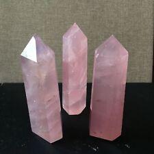 Natural Rock Rose Quartz Crystal Point Healing Stone Obelisk Wand Pink 50-60MM