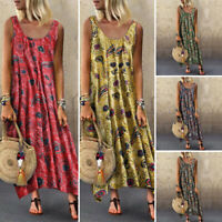 Summer Womens Dresses Loose Floral Strappy Sundress Party Cocktail Casual Plain