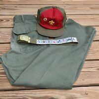 Boy Scout Baseball Cap Hat Belt w/ Merit Slides And Pants Vintage