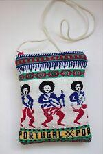 VTG Woven Stitch Fabric Portugal FOLK ART SMALL PURSE CROSS BODY SHOULDER BAG