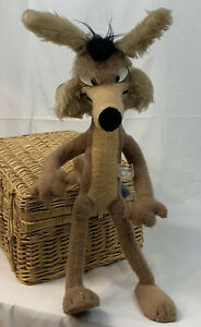"""Vtg Warner Brothers WB Mighty Star 28"""" Wile E Coyote Plush 1971 Wired Stuffed"""