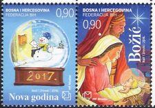 Bosnia Herzegovina 2016 Christmas/New Year/Greetings/Nativity/Snowman 2v b2756e