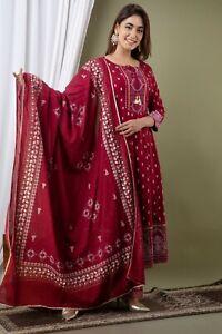Anarkali Rayon Kurti And Palazzo With Dupatta Set Women Dress.Diwali Gift Dress.