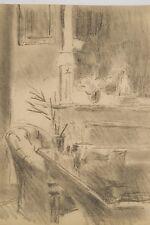 Dessin Original vers 1930/40 Intérieur à la cheminée et au fauteuil, non signé