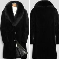 Winter Faux Mink Fur Collar Trench Coat Men's Cashmere Overcoat Jacket Outwear
