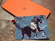 Hermes Horse Flat Pouch Makeup Bag Pochette Cotton Light Blue