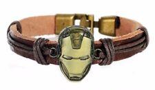 Iron Man Logo Brass Toggle Closure Leather Bracelet