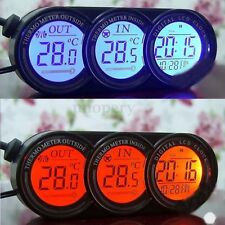 12V LCD Digital In Car Inside & Outside Temperature Thermometer Calendar Clock