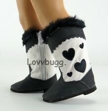 """Bugg Black Heart Cowboy Cowgirl Western Boots for 18"""" American Girl Doll Shoes"""