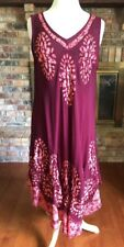 Sunflower Boho Women Long Dress Tank Maroon Tie Dye Design Free Size