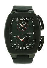Guess Steel W15504G1 Men's Dual Time Analog Tonneau Black Leather Watch