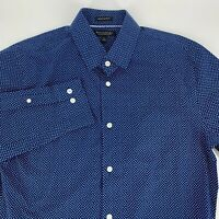 Banana Republic Mens Grant Slim Fit Shirt Size M Non Iron Blue Print Long Sleeve