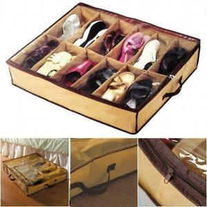 12 Pairs Shoes Storage Organizer Holder Container Under Bed Shoe Closet Bag R6L0