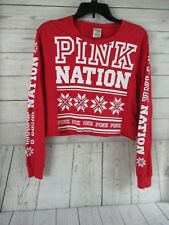 Victoria's Secret PINK NATION red Snowflake Campus Cropped Tee T-Shirt Medium
