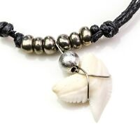 Tiger shark tooth grey metallic beads necklace uni fit unisex fishing diving c92