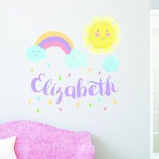 PERSONALISED SUN AND RAINBOW FUN CHILDREN'S BEDROOM PLAYROOM WALL STICKER VINYL