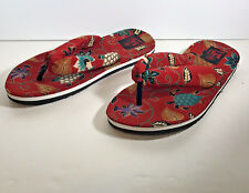 BALI PR Women Flip Flops Red Floral Sandals Padded Straps Large Women's Fashion