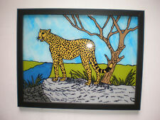 Cheetah Animal Painted Reverse Art Painting Scene on Glass Picture Painting Cat