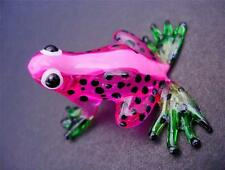 Glass FROG Pink & Black Spotted Painted Glass Animal Ornament Glass Figure Gift