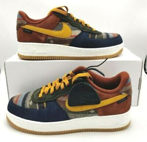 Nike Air Force 1 NBY Mens Size 9.5 Pendleton Blue Yellow Shoes DJ2675-991